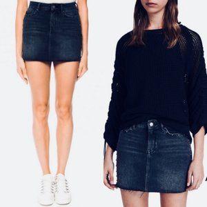 AllSaints Bartley Frayed Hem Denim Jean Mini Skirt